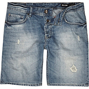Mid blue wash Only & Sons denim shorts