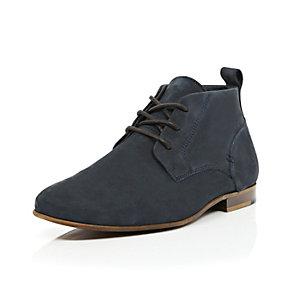 Navy nubuck chukka boots