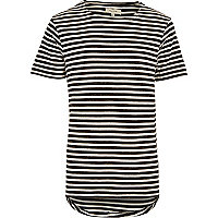 Black stripe curved hem t-shirt