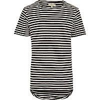Black stripe curved hem t-shirt