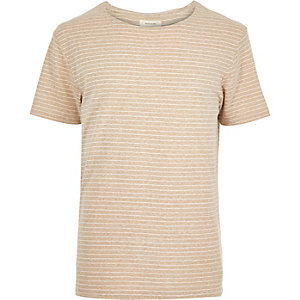Brown striped curved hem t-shirt