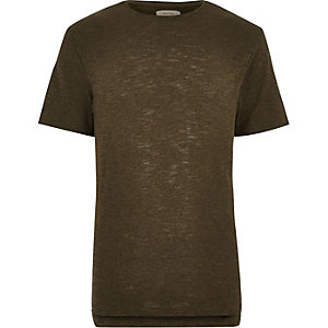 Green stepped hem t-shirt