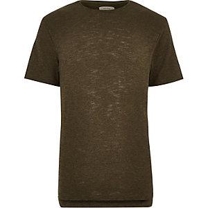 Green stepped hem t-shirt