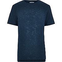 Dark blue stepped hem hem t-shirt
