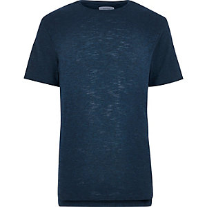 Dark blue stepped hem hem t-shirt