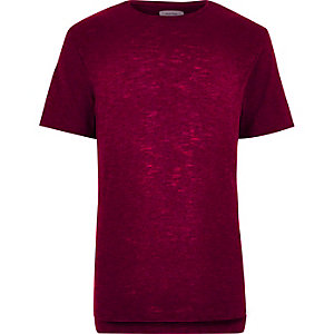 Dark red stepped hem t-shirt