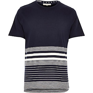 Navy striped stepped hem t-shirt
