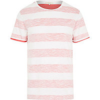 Pink reverse stripe short sleeve t-shirt