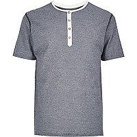 Navy mini stripe grandad t-shirt