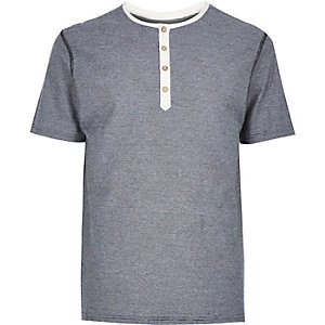 Navy thin stripe grandad t-shirt