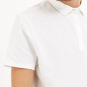White dotty texture front polo shirt