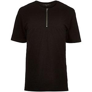 Black longer length zip front t-shirt