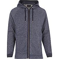 Blue heavyweight cotton zip hoodie