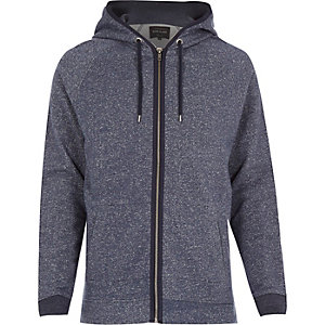 Blue heavyweight cotton zip hoodie
