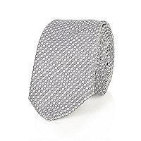 Grey dobby twill tie
