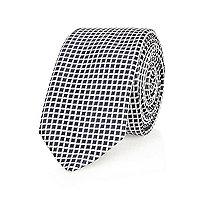 Navy grid print tie