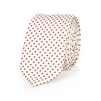 Ecru red square print tie