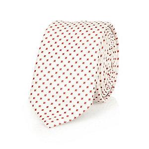 Ecru red square print tie
