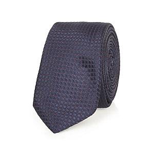Navy dot grid print tie