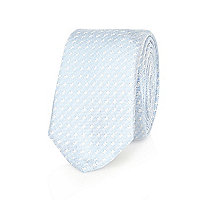 Blue diagonal square print tie