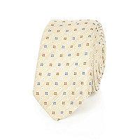 Beige flower print tie
