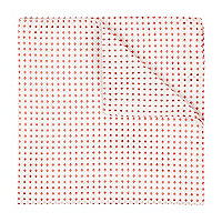Ecru and red square print pocket square