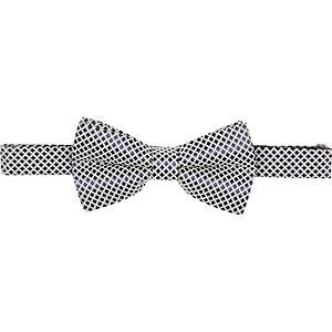 Navy grid bow tie