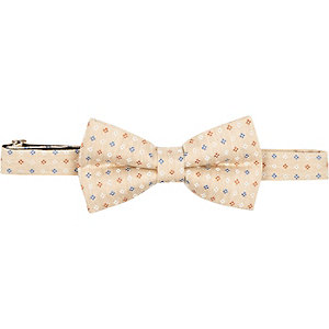 Yellow small floral print bow tie