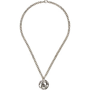 Silver tone skull disk necklace
