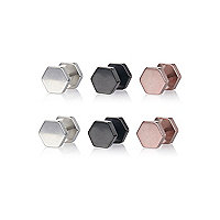 Mixed metal hexagon plug earrings