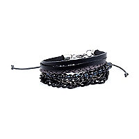 Black chain bead bracelets pack
