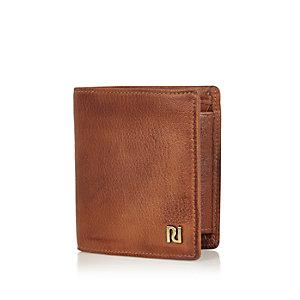 Braune Falt-Geldbörse aus Leder