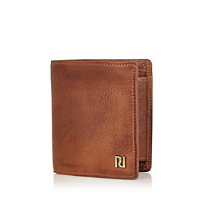 Brown leather three fold wallet