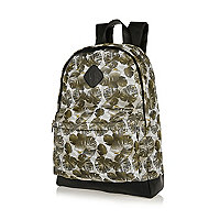 Green leaf print mesh backpack