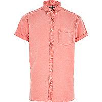Red acid wash Oxford shirt