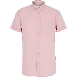 Pink acid wash Oxford shirt