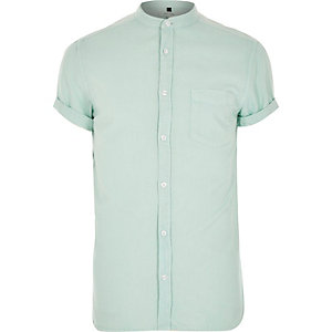 Green acid wash short sleeve grandad shirt