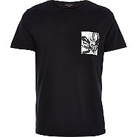 Black contrast floral pocket t-shirt