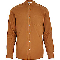 Deep yellow Oxford long sleeve grandad shirt