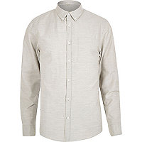 Grey textured marl long sleeve shirt