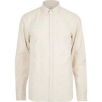 Ecru textured marl long sleeve shirt