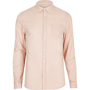 Peach grid check long sleeve shirt