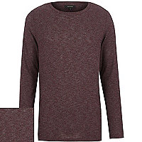 Dark red ribbed curved hem long sleeve top