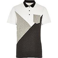 Grey colour block polo shirt