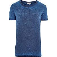 Dark blue burnout crew neck t-shirt