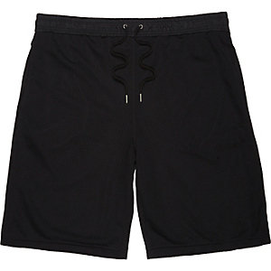 Black drawstring mesh shorts