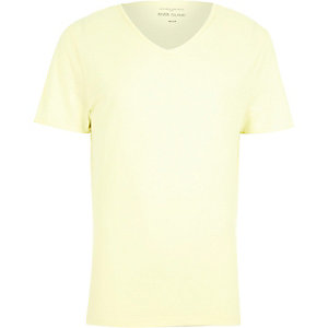 Yellow premium low scoop neck t-shirt