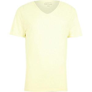 Yellow premium low scoop neck t-shirt