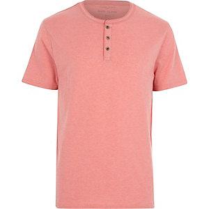 Coral pink grandad t-shirt
