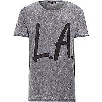 Grey burnout LA print t-shirt